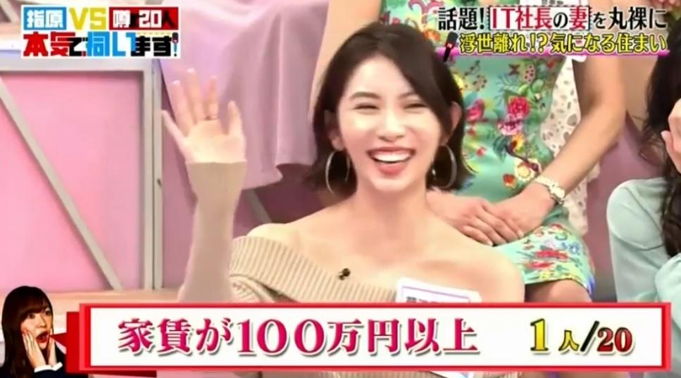 「指原VS噂の20人IT社長の妻に伺います」でさっしーから「家賃100万円以上の家に住んでいる人っていますか?」という質問があった際、誰も手を上げる人がいなかったため、菊池瑠々さんが満面の笑みで嬉しそうに挙手した画像