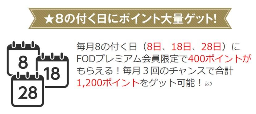 FODプレミアムの「毎月8日・18日・28日」はポイントサービス対象という画像