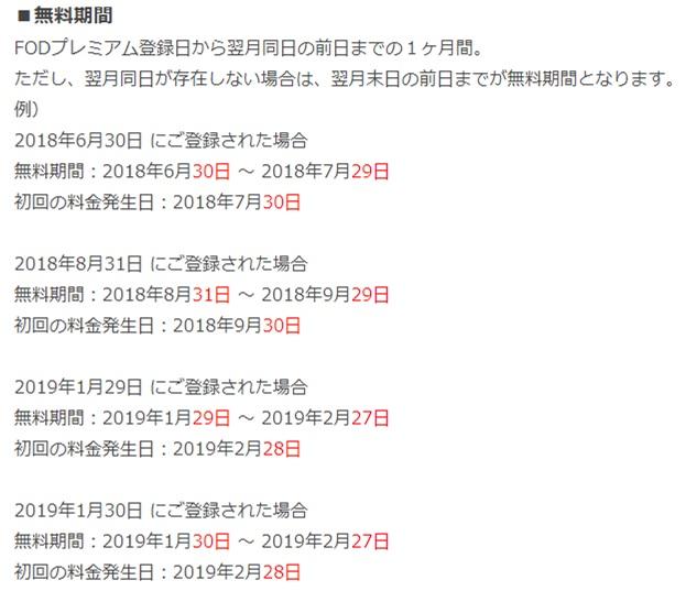 FODプレミアムは申込日によって無料期間が異なる具体例について記載されたFOD公式ページの画像